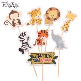 $enCountryForm.capitalKeyWord NZ - FENGRISE 24pcs Safari Jungle Animal Cupcake Toppers Picks Birthday Party Decoration Kids Baby Shower Boy Favors Cake Decorating