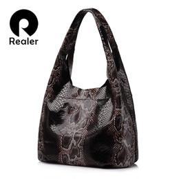 c10337166ff9 Large Genuine Leather Hobo Handbag Canada - REALER brand genuine leather  handbags women large tote bag