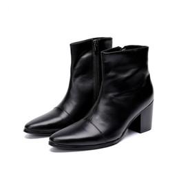 dc467227b Nuevos botines italianos de cuero genuino Botines de moda Zapatos de vestir  de tacón alto hombres botas de moto de punta estrecha negro