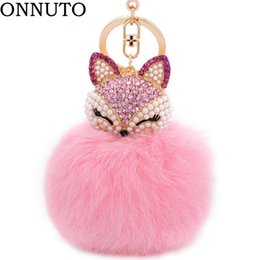 Discount trinket toys - Lovely Crystal Faux Fox Rabbit Fur Keychains Women Trinkets Suspension On Bags Car Key Chain Keyrings Toy Gifts 7C0394