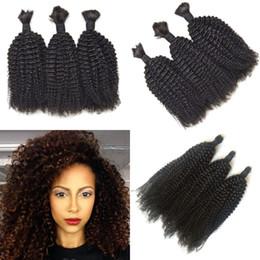 Brazilian Kinky Curly Braiding Hair UK - Braiding Hair Bulk 3 pcs Mongolian Kinky Curly Natural Color Human Hair Bulk No Tangle No Shedding G-EASY