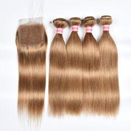 honey blonde hair dye 2019 - Brazilian Straight Hair Weave Bundles With Closure Honey Blonde Human Hair 3 Bundles With Closure 27# Brazilian Straight