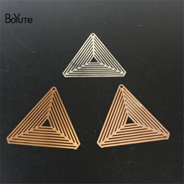 brass sheets Canada - BoYuTe 20Pcs 28.5MM Filigree Brass Triangle Metal Sheet Silver Gold Diy Pendant Charms for Jewelry Making