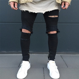 Torn Trousers Canada - Top 2018 New Men's Cycling Cowboy Zip Trousers Crossover Men's Motorcycle Knee Jeans Zip Tearing Feet Jeans