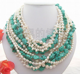 Beautiful Red White Roses NZ - N012930 Beautiful! 6Strands White Pearl Necklace