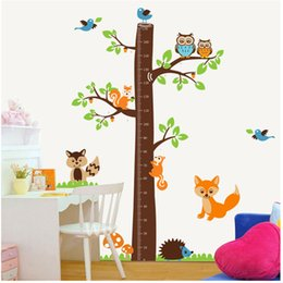 Wholesale Squirrel Tree Height Measure Cartoon Wall Sticker AB For Kids Rooms Height Chart Decal Kindergarten Children Room Decor