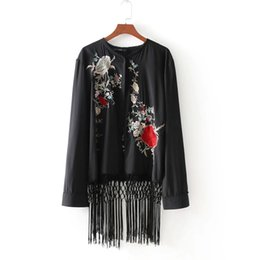 ladies floral cardigans UK - 2018 women vintage floral embroidery national coat elegant tassel patchwork cape ladies kimono style cardigan jacket tops CT060