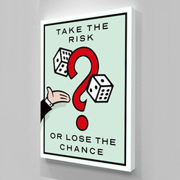 Pop Art Wall Canada - Alec Monopoly Take the Risk.Quality Handpainted  HD Print Cartoon Graffiti Pop Wall Art Oil Painting on Canvas Multi Size  Frame Options 214