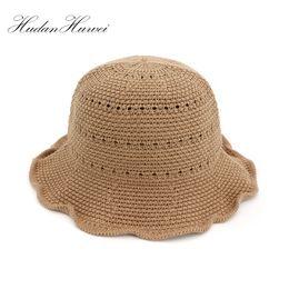 fb11f67d Fashion Handmade Weave Cotton Raffia Sun Hats For Women Large Brim Straw Hat  Outdoor Beach Summer Caps Chapeu Feminino HBSNM021
