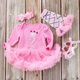 $enCountryForm.capitalKeyWord Australia - Baby Girl Brithday bodysuit set long Sleeve romper tops princess Tutu Skirt pink Headband 4PCS Outfit baby Cartoon suits Set flower skirt