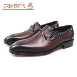 Male Leather Shoes Sale Australia - GRIMENTIN Summer Business Men Formal Shoes Genuine Leather Italian Designer Mens Dress Shoes Hot Sale Slip On Brown Office Male Shoes JM