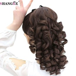 Discount hair clip tail curly - SHANGKE Short Curly Flip In Ponytails Clip In Fake Hair Extensions Natual Clip In Hair Tails Heat Resistant Synthetic Po