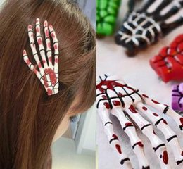 Discount hair clamps plastic - 50pcs size 4 * 7cm skull claw hairpin skeleton hand hair clips  Lolita Rockabilly Goth  clip mixed colors