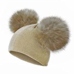$enCountryForm.capitalKeyWord Australia - Autumn Winter Kids Hats Double Ball Knit Baby Hat Imitation Fox Fur Ball Detachable Fashion Beanie Hat 18101501
