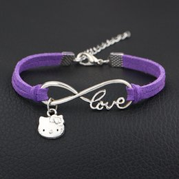$enCountryForm.capitalKeyWord NZ - AFSHOR 2018 New Arrival Cute Kitty Cat Charms Bracelet Antique Silver Infinity Love Leather Bracelets For Women Fashion Jewelry