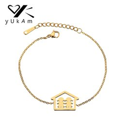 Wholesale YUKAM Simple Gold Stainless Steel Baby Girl Family Sister Charm Bracelets for Women Home Best Friend Friendship Bracelet Jewelry
