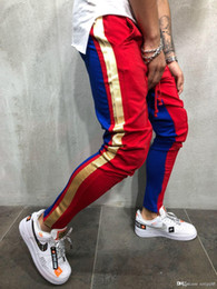 pencil cake 2018 - Men personality Color matching sweatpants Hip hop tether pants Fashion casual harem pants sell like hot cakes new style