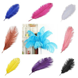 decorative plumes UK - Hot 14-16inch Ostrich Feather Plumes for Wedding Centerpiece Table Party Desktop decoration beautiful feathers DIY Party Decorative