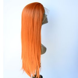 Synthetic red lace front online shopping - Natural Looking Synthetic Lace Front Wigs Yellow Red Hand Tied Synthetic Wig Long Silky Straight Full Hair For White Women