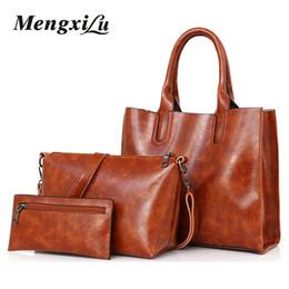 60430c7c8ec7 3 Pcs Set Oil Wax Leather Women Bag Leather Handbags High Quality Casual Female  Bags Trunk Tote Spanish Brand Shoulder Bag