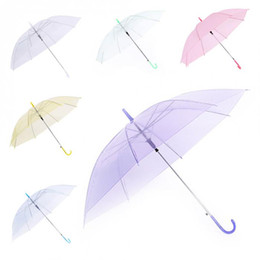 umbrella bubble transparent wholesale Canada - Clear Transparent Rain Umbrella PVC Rain Dome Bubble Rain Sun Shade Wedding Party Umbrellas Long Handle Straight Stick Umbrella C564