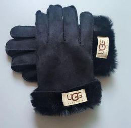 Marque De Luxe Gants En Peau De Mouton Designer Fourrure En Cuir Cinq Doigts Gants Solide Couleur Hiver En Plein Air Chaud Mitaines 983
