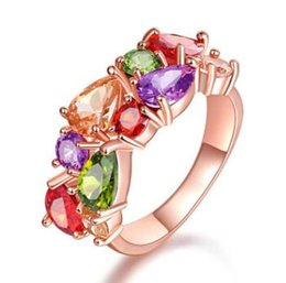 Rose Gold Cluster Engagement Rings Australia - Mona Lisa Multicolor Cubic Zircon Ring for Women Fashion Finger Jewelry Rose Gold color Bride Engagement Rings Wholesale RI0003