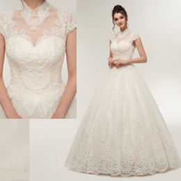 High Pictures NZ - REAL PICTURE high neck back lace up Exposed Boning A Line Wedding Dresses with floor length CYH0000S639