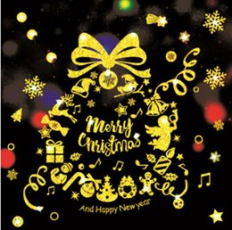 christmas stickers windows decorations 2019 - Christmas Display Window Sticker Gold Glass Wall Stickers Merry Christmas Letter Decal Home Living Room Bedroom Christma