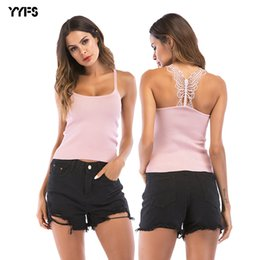 Wholesale New Summer Women Sexy Knitted Crop Top Female Sleeveless Cropped Vest Tank Top Camisole Crochet Butterfly