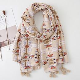 $enCountryForm.capitalKeyWord NZ - 6pcs New Geometric Prints with Tassel High Quality Scarf Shawls for Women Girl Summer Wraps Scarves Beach Shawl for Lady