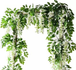 Fake wisteria vines online shopping - Artificial Flowers ft Silk Wisteria Ivy Vine Hanging Garland Wedding Party Supplies Christmas Home Garden Decoration Fake Flowers