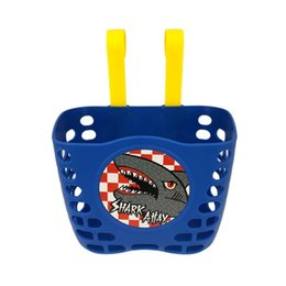 handle baskets wholesale UK - Kids Bike Basket Mini-Factory Short Bar Plastic Cartoon Hanging Shark Attax Pattern Cute Bike Basket Bicycle Handlebar Holder