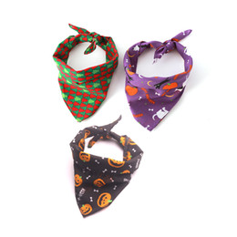 $enCountryForm.capitalKeyWord UK - Pet Bandanas Halloween Pumpkin Bone Printed for Medium Dogs Dress Up Puppy Neckerchief Cosplay 100% Cotton New Arrival on Sale