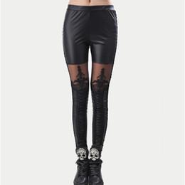 26067645d6a High Quality wholesale Punk Black faux leather gothic lace Legging women  bandage lace up leggings cheap HOT pants trousers