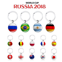 soccer rings Australia - 2018 Russia World Cup Hot Football Keychains Metal Key Ring Strog 32 Country Soccer Key Chains Souvenir CNY235