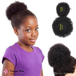 $enCountryForm.capitalKeyWord NZ - New Freeshipping Hair Ribbon Extensions Ponytail Extensions Wavy Curly Chignon Bun Hairpiece Clip-In Natural Color for Kids black girl