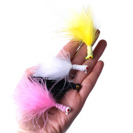 Wholesale Crappie Lure Australia - Feather Fishing Plumage Barbed Hooks Sturdy Jig Crappie Panfish Bait Mini Outdoor Catch Fishes Lure Equipment Many Colors 0 78rx bZ