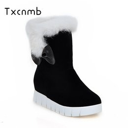 6cf1a3253b4 TXCNMB 2018 new High Quality Shoes Woman Warm Mid Calf Boots Warm Ladies  Snow Boots Woman Plush Insole Winter botas mujer