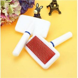 $enCountryForm.capitalKeyWord NZ - Hot sales free shipping White Plastic Handle Pet Comb Air Bag Type Protection Point Dog comb Dog Grooming