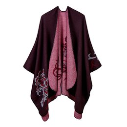 $enCountryForm.capitalKeyWord UK - Vintage Women Shawl Poncho Loose Faux Cashmere Color Block Floral Patterns Oversized Warm Long Knitted Cape Casual Retro Kimono