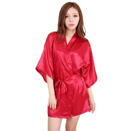 5a50bc6782 Wholesale Silk Dressing Gowns UK - New Sexy Women Robes Bridesmaid Word  drilling Faux Silk Half