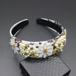 Sunflowers Hair NZ - New Europe and the United States wind Baroque fashion hair accessories pearl flower sunflower leaves hair hoop female 137 S919