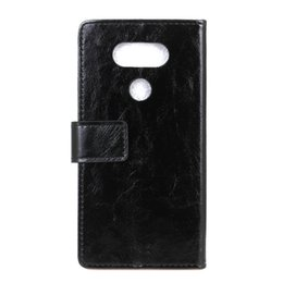 Leather Phone Case For Blackberry UK - New Crazy Horse Grain Wallet PU Leather Phone Case For LG Q6 Q8 K8 2018 V30 V40 Thin Q card holder slot stand
