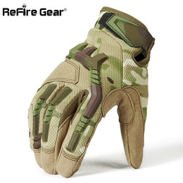 Bicycling Gear Australia - ReFire Gear Army Combat Tactical Gloves Men Full Finger Camouflage Paintball Military Gloves SWAT Soldiers Shoot Bicycle Mittens D18110705