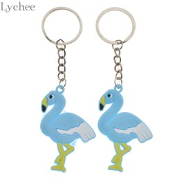 $enCountryForm.capitalKeyWord NZ - Lychee 2pcs Trendy Rubber Flamingo Keychain Lovely Unisex Key chains Kawaii Women Men Keyring Backpack Pendant Accessories
