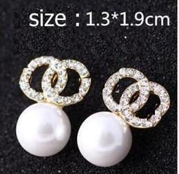 e3124f4f41e1 ... Diseño de marca de alta calidad Pendientes del perno prisionero de las  mujeres de oro de la boda pendientes de la perla de la joyería fina joyería