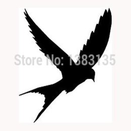 Discount rear window art HotMeiNi Wholesale 20pcs lot Swallow Wall Art Decal Vinyl Drift 10Cm X 11Cm Popular Tattoo Bike , All The Smooth Surf