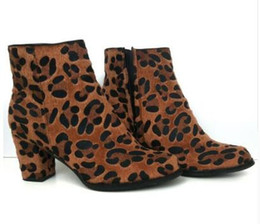 7555d3266296 Horsehair Suede Leather Leopard Ankle Boots Brown Thick Chunky Heel Sexy  High Heels Zip Booties Ladies Autumn Shoes