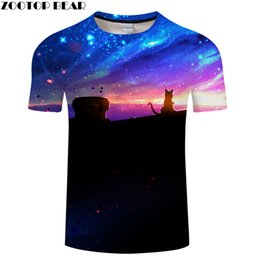 Discount galaxy tees wholesale - Galaxy&cat 3D Print t shirt Men Women tshirts Summer Casual Short Sleeve O-neck Sweatshirt Tops&Tees 2018 Drop Ship